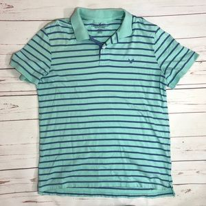 American Eagle Outfitters Light & Dark Blue Polo